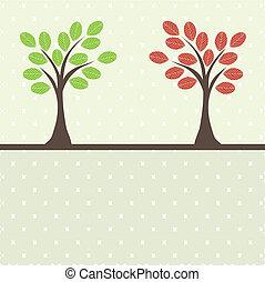 retro, árvore, ., vetorial, ilustração