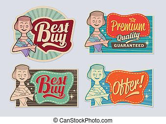 retro, årgång, annonsering, etiketter