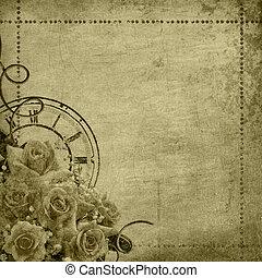 retro, årgång, romantisk, bakgrund