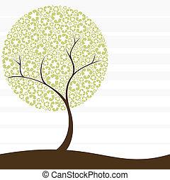 retro, återvinning, träd, begrepp