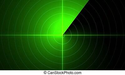 retro, écran, 4k, radar, balayage, vert
