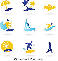 retro, été, voyage, et, sports nautiques, icônes, -, bleu, et, jaune