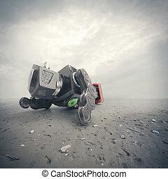 retro, ón, robot, játékszer