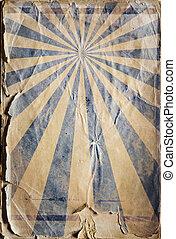 retro újjászületés, napsugár, poszter, háttér, alatt, kék