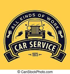 retro, út, jel, ábra, rendbehozás, el, szolgáltatás, szüret, autó., tervezés, fogalom, vektor, autó