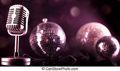 retro čnělka, mikrofon, hudba, grafické pozadí, hudba,...