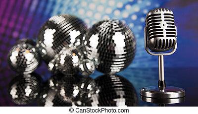 retro čnělka, mikrofon, hudba, grafické pozadí