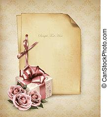 retro, święto, tło, z, różowe róże, i, dar boks, i, stary,...
