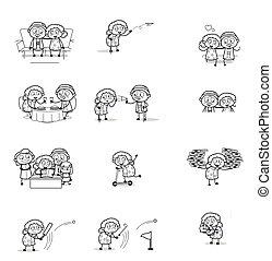 retro , αντίληψη , μικροβιοφορέας , γιαγιά , διευκρίνιση , γελοιογραφία , - , γριά , συλλογή