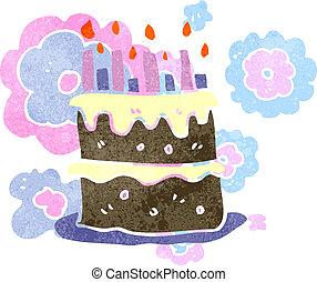 retro , γελοιογραφία , τούρτα γενεθλίων
