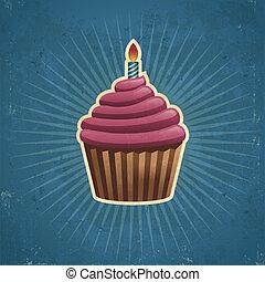 retro , γενέθλια , cupcake