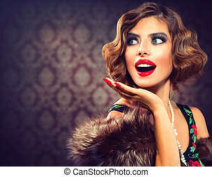 retro , γυναίκα , portrait., έκπληκτος , lady., κρασί ,...