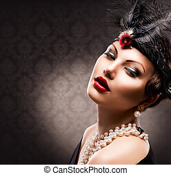 retro , γυναίκα , portrait., κρασί , αιχμηρή απόφυση ,...