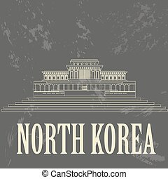 retro , κορέα , βόρεια , landmarks., αιχμηρή απόφυση