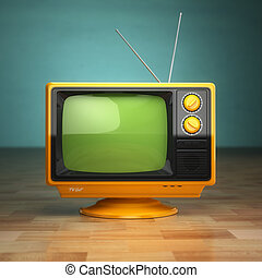 retro , κρασί , τηλεόραση , επάνω , πράσινο , φόντο. , τηλεόραση , concept.