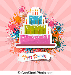 retro , ροζ , γενέθλια , φόντο , εικόνα , με , κέηκ
