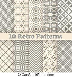 retro, 不同, seamless, patterns., 矢量, 插圖