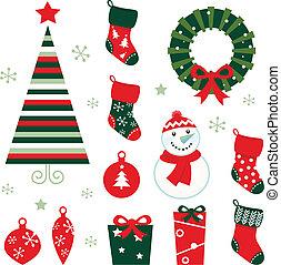 retro, 元素, 為, 聖誕節, evening., 矢量, 卡通, 插圖