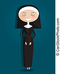 retro, 卡通, 修女
