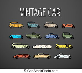 retro, 圖象, 集合, 不同, 黑色半面畫像, 形狀, 汽車
