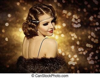 retro, 婦女, 發型, 肖像, 以及, 构成, 時髦模型, 由于, 卷曲的頭髮麤毛交織物, 風格, 女孩, 背