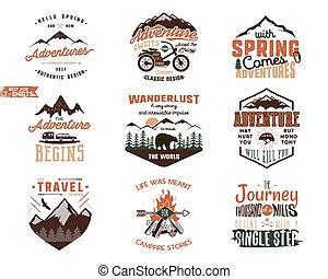 retro, 旅行, 探險, 背景。, 顏色, 引述, 山, designs., 冒險, 探險家, 被隔离, 分接, 集合, 矢量, 手, labels., 襯衫, 象征, 葡萄酒, 畫, style., wanderlust, 插圖, 白色