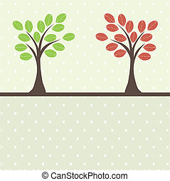 retro, 樹, ., 矢量, 插圖