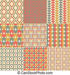 retro, 牆紙, seamless, 幾何學