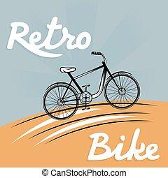 retro, 矢量, 描述, 在中, 自行车