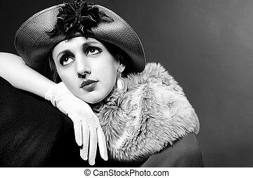 retro, 稱呼, 時裝, 肖像, ......的, a, 年輕婦女