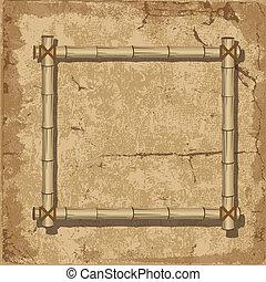 retro, 竹子, 框架, grunge, 背景