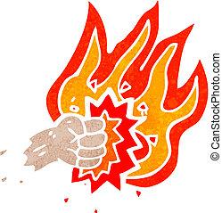 retro, 符號, 燃燒, 打孔機, 卡通