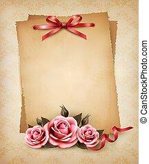 retro, 背景, 由于, 美麗, 桃紅色 上升了, 以及, 老, paper., 矢量, illustration.