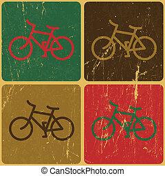 retro, 自行車, 背景, 矢量