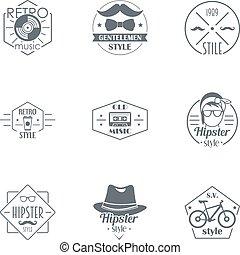 retro, 行家, 標識語, 集合, 簡單, 風格