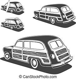 retro, 衝浪板, woodie, 貨車, 汽車, 被隔离, 在懷特上, 背景。, 矢量,...