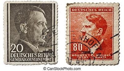 retro, 邮寄, hitler, stamps., 德语