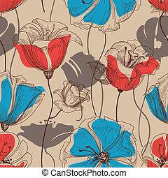retro, 꽃의, seamless, 패턴, 벡터