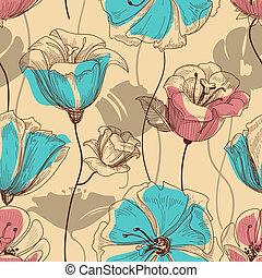 retro, 꽃의, seamless, 패턴
