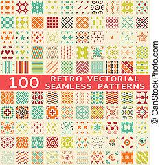retro, 다른, 벡터, seamless, 패턴, (with, swatch).