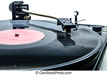 retro, 당 dj, 턴테이블, 논다, 음악, 통하고 있는, 비닐, 오디오, disc.hifi, audiophile, 회전, 테이블, device.