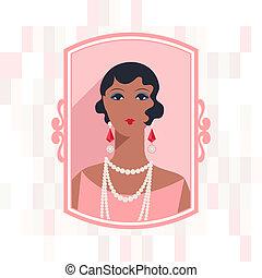retro, 배경, 와, 아름다운, 소녀, 의, 1920s, style.