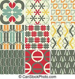 retro, 벡터, seamless, 패턴