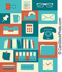 retro, 사무실, 포스터