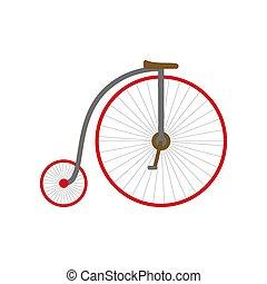 retro, 삽화, 자전거