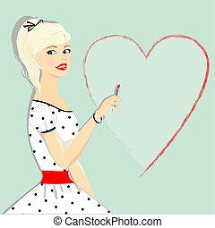 retro, 아름다운, 소녀, 와, 심장, 핀 위로