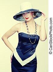 retro, 여자, 에서, 모자
