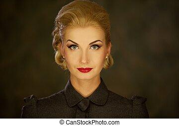 retro, 여자, portrait.