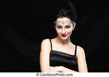 retro, 여자, portrait., 포도 수확, 스타일, 소녀