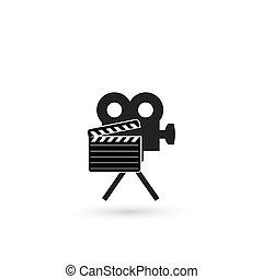retro, 영화관, 아이콘